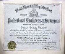 George D. Ferguson earned his Professional Engineering license
